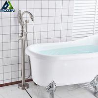 Swan Form Badewanne Wasserhahn Freistehendes Badezimmer Badewanne Mischbatterie Single Griff mit Händeschale Bodenmontage Badewanne Duschhahn