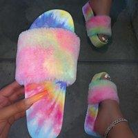 Rela Bota Femmes Sous-peluche Soft Soft Slip Slip-Slipper Coloré Furry Plateforme Chaussures de plein air Plus Taille 40-43 Sandales de loisirs en caoutchouc