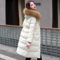 3 Renkler Bayan Aşağı Parkas Fitaylor Kış Kadınlar Uzun Ceket Büyük Doğal Kürk Yaka Kapşonlu Beyaz Ördek Ceket Kalınlığı Kar Sıcak Dış Giyim