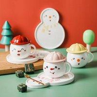 Mugs Christmas Gift Snowman Shaped Cup Dish Spoon With Cover Cute Mug Afternoon Tea Coffee Cartoon Breakfast