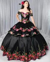 2021 Black Gothic Quinceanera Dresses Charro Detachable Skirt Floral Embroidered Off The Shoulder Sweet 16 Dress Mexican Theme Plus Size