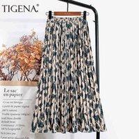 Tigena Leopard Print Long Maxi Pliated женская мода летняя корейская эластичная высокая талия эстетическая шифон юбка женщина