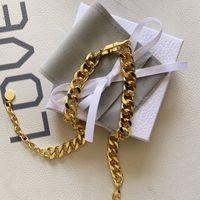 Braccialetto della collana della catena del collegamento della catena dell oro 14k della lettera 14k della lettera dell acciaio inossidabile della lettera 14k per gli amanti del partito degli uomini e delle donne dei giovani gioielli hip-hop con la scatola