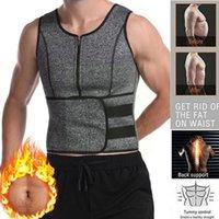 Men's Body Shapers Men Neoprene Sauna Zipper Waist Trainer Corset Vest Shaper Top Trimmer Slimming Belt Shapewear Compression P3z0