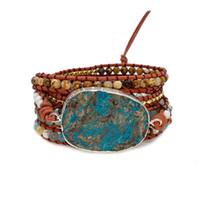 Boho شيك الطبيعة حجر الخرز سوار مضفر اليد جلد حبل سلسلة الفيروز التفاف سلسلة المجوهرات البوهيمي