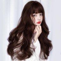 Pelucas sintéticas Lanlan peluca femenina Filamento de alta temperatura largo Largo rizado Big Wave Historieta Bangs Negro / marrón Flax Gris Cosplay