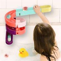 QWZ DIY Bebek Banyo Oyuncakları Duvar Vantuz Mermer Yarış Run Parça Banyo Küvet Çocuklar Çocuklar Için Su Oyunları Oyuncak Set 210804