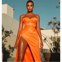 Casual Dresses Est Summer Bodycon Dress 2021 Women Sexy Strapless Backless Split Orange Maxi Long Elegant Evening Party Club Vestidos