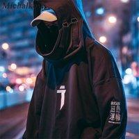 Michalkova Alto Cuello Pequeño Pullover Jersey Sudaderas Japoneses Hombres / Mujeres Hoodies Streetwear de gran tamaño Hip Hop Harajuku Tops Masculinos 201103