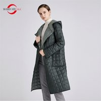 MODERN SAGA Women Coat Autumn Thin Cotton Padded Spring Long Jacket Hooded Parka Woman Quilted One Size 210913