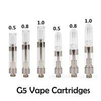 G5 Vape Cartridges Ceramic Coil Atomizer Acrylic Drip Tip 0.8ml 1ml 0.5ml Tanks 510 Thread Vaporizer ecig Empty Vapor Pen