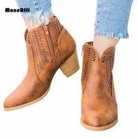 Monerffi Drop Shipping 2019 Новые Женские Сапоги Мода Квадратный Каблук Базовый Повседневный Сплошной Цвет Римские Насосы Застегивает Boots Mon Boots C0DM #