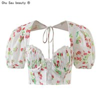 Women's Blouses & Shirts 2021 Summer Vintage Sweet Square Collar Lace-Up Lace Stitching Printed Puff Sleeve Top High Waist Sexy Backless Blo