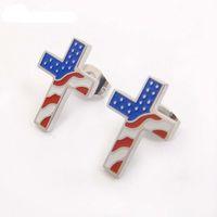 Dicarlun americano bandera pendientes de acero inoxidable Cruz Pendientes Pendientes Pequeño Pendiente Patriótico Joyería Cristiana Religioso X0709 x0710