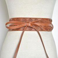 Belts Cummerbunds Strap For Women High Waist Lace Up Pu Leather Designer Wide Slimming Girdle Belt Ties Bow Bands