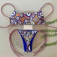 Qinjoyer Kadınlar Göz Baskı Bikini Brezilyalı Mayo Tanga Mayo 2 Parça Mayo 210625