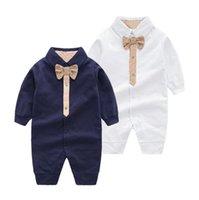Moda 2021 verão macacões menino menina roupas crianças unisex algodão de manga curta bowknot gravata coverall crianças manga curta onesies romper