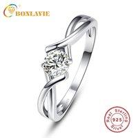Wedding Rings BONLAVIE 5x5mm White Zircon Ring Female Simple Silver 925 Jewelry Gift Round Cut Bijoux Anel For Women Fine