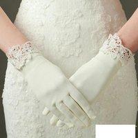 Gants de mariée Satin blanc Satin Femmes Robe courte Accessoires de mariage Dentelle Appliques Guantes de Novia Gant pour