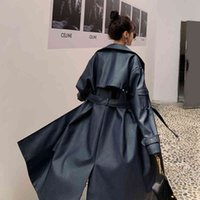 Women's Trench Coats Casaco longo de couro pu, elegante, estilo europeu, trench coat feminino, breasted duplo com cinto, primavera, outono, vestuário feminino V8QQ