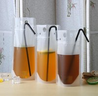 Transparent Drink Pouches Clear Beverage Bag Frosted Self Sealed Milk Coffee Juice Drinking Plastic Bags Portable DHB9683