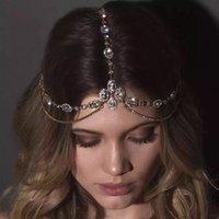 الجبين الكريستال مع سلسلة غطاء الرأس المرأة لامعة الراين ستون الزفاف مجوهرات الشعر الزفاف