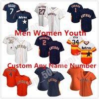 2021 Houston Hombres Mujeres Niños Astros 27 Jose Altuve Jersey George Springer Michael Brantley Yuli Gurriel Alex Bregman Baseball Jerseys