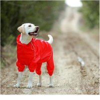 Pet Dog Дождевик Светоотражающий Водонепроницаемый Узкая на молнии Одежда Высокое Шея Капюшона для маленьких Больших собак Комбинезон Дождь Плащ JLLHLP
