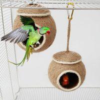 Küçük Pet Papağan Hamster Hindistan Cevizi Kabuğu Ev Yuva Asılı Salıncak Hamak Çiğnemek Oyuncak Pet Papağan Kuşlar Sincap Evi Kafes Oyuncak