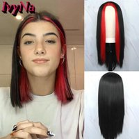 Synthetic Wigs IvyNa Long Red Highligts Black Straight Machine Made For Women Girls Heat Resistant No Lace Wig Middle Part