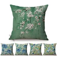 Cushion Decorative Pillow Spring Decoration Blue Flower Birch Cherry Dogwood Blossoms Branch Oil Painting Design Cushion Cover Sofa Throw Ca