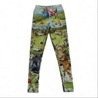 Мода крошечные люди роспись женщин леггинсы печатают тонкие упругие полиэфирные брюки партии случайные брюки падение