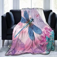 Coperte Pink Flower Blue Dragonfly Blanket PREMIUM Microfiber Fleece Super Morbida e confortevole Letto caldo