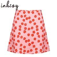 Skirts Women Sweet E-Girl Y2k Clothes Satin Lining Miniskirts Summer Pink Floral Printed High Waist Short Skirt Beachwear Streetwear