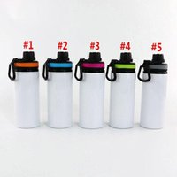 2021 Sublimation Aluminum Blanks Water Bottles 600ML Heat Resistant Kettle Sports Cups White Cover Cup With Handle by sea T2I50476