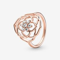 100% 925 Sterling Silver Rose Petals Statement Ring For Women Wedding Engagement Rings Fashion Jewelry