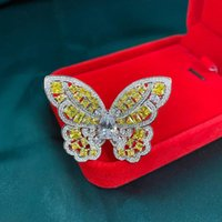 Anéis de cluster anziw 925 esterlina prata amarela borboleta casamento noivado de noiva para mulheres festa amante jóias presentes
