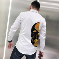 الرجال عارضة القمصان تصميم العلامة التجارية أزياء تي شيرت زر التلبيب الفاخرة حجر الراين مكتب العمل وزرة بأكمام طويلة