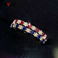 OEVAS 100% 925 Sterling Silver Ruby Sapphire Sparkling High Carbon Diamond Finger Rings For Women Party Fine Jewelry Whole