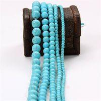 Белые синие бирюзы каменные бусины круглые разные бусы находки 4 / 6/8 / 10/12 мм для ювелирных изделий DIY Craft Bead Материал 370 T2