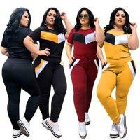 Plus Size Tracksuits XL-4XL Women's Casual 2 Pc Stitching Short Sleeve T-shirt Trousers Sportswear Patchwork Suit Bulk Wholesale