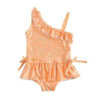 One-peça para ternos menina moda moda polka dot impresso ruffled swimsuit swimwear 6m-4y toddler crianças verão casual um ombro maiô