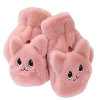 Cinq doigts Gants hiver chaud fourrure douce femme bascule demi-doigt conduire peluche épaisseur mignon chat tactile écran tactile
