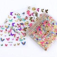 30pcs Gold Silver 3D Nail Art Autocollant Stickers creux Designs Designs Mixtes Design Adhésif Fleurs Conseils à ongles Lettre Butterfly Paper Nail