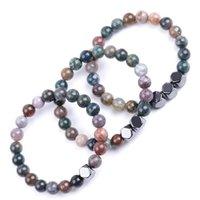Beaded, Strands Lover Men Handmade hematite 8mm Buddha Indian agate stone Bracelet beads Bracelets Summer Women Jewelry gift