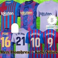 21 22 KUN AGUERO Barcelona camiseta de futbol 2021 2022 BARCA FC ANSU FATI GRIEZMANN F.DE JONG DEST PEDRI camisa de futebol masculino kit crianças equipamentos conjuntos