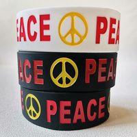 매력 팔찌 2pcs 아니 전쟁 세계 평화 사랑 실리콘 고무 밴드 브랜드 로고 팔찌 최고 품질의 chamical 채우기 수제