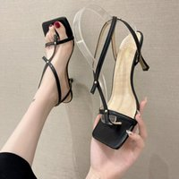 Sandals 2021 Summer Elegant Women Square Toe Flip Flops Purple White 8cm Thin High Heels Designer Ladies Wedding Shoes