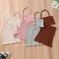 Clothing Sets Fashion Toddler Baby Girls Clothes Kids Children Summer Solid Sleeveless Tank Tops Skirts Outfit 2-7Y