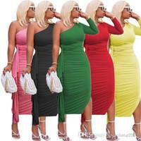 Women Designer Dresses Autumn Sexy One Shoulder Long Sleeve Lace Dress Fashion Solid Color Slim Bodycon Skirt Clubwear Plus Size